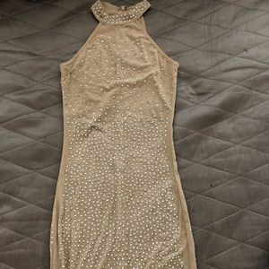 Dresses & Skirts - Crystals turtle neck long nude dress